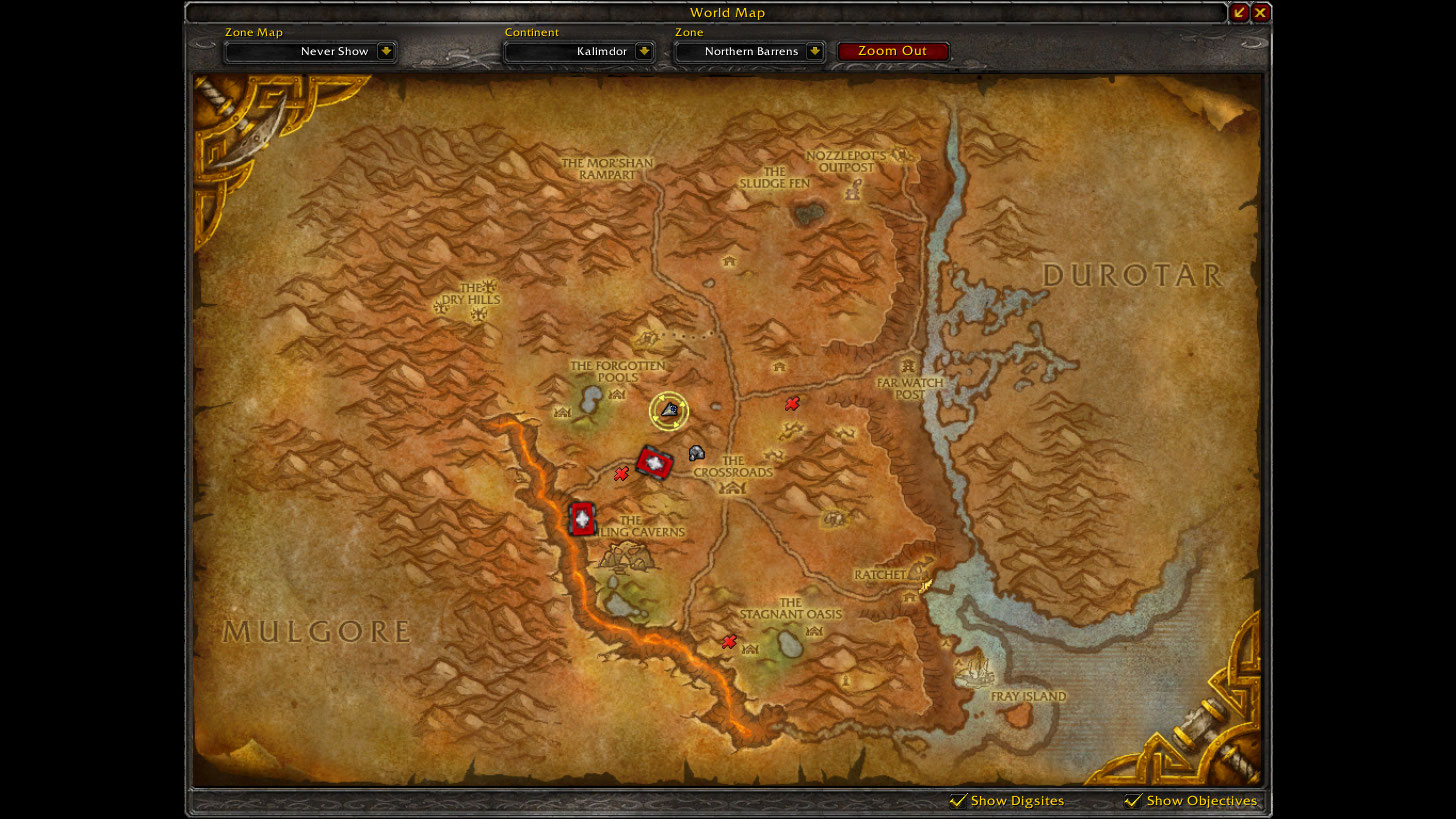 Map location of the Kor'kron camp that appears to not yet have a name or a proper place on the map.