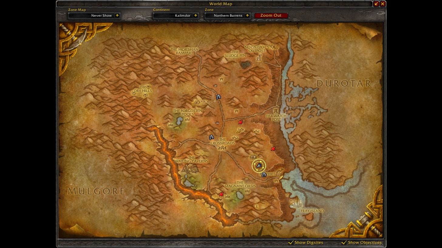 Location of Kor'kron Flameworgs on the current Northern Barrens map.